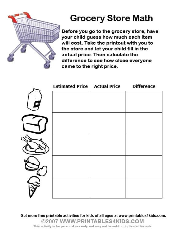 Grocery Store Math Worksheets