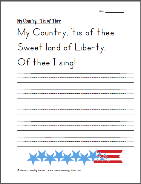 Handwriting My Country  Tis Of Thee