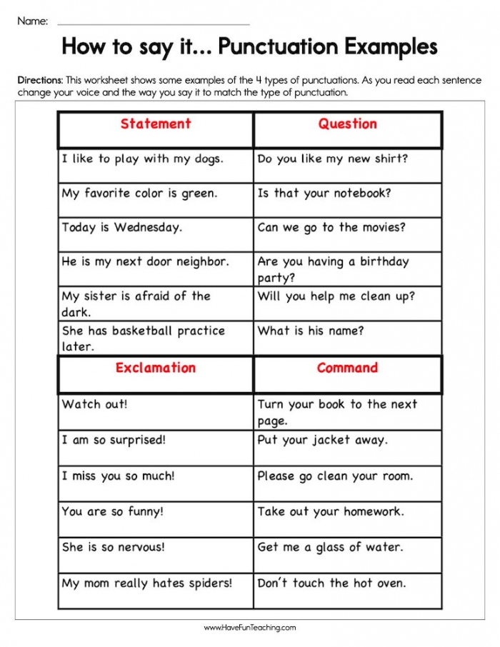 How To Say It Punctuation Worksheet  Have Fun Teaching
