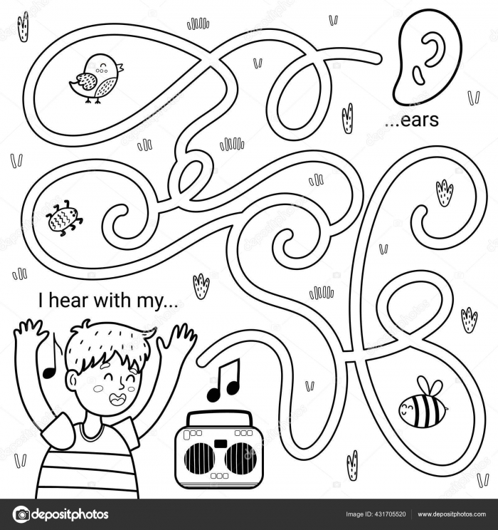 I Can Hear With My Ears Black And White Maze Game For Kids Five