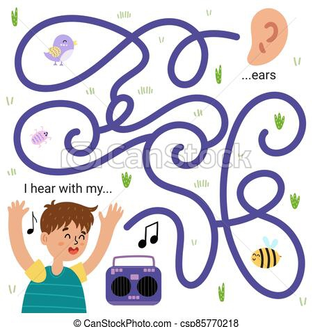 I Hear With My Ears Funny Maze Game For Kids Learning Five