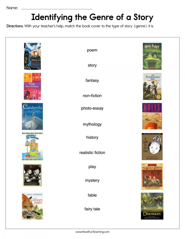 Identifying The Genre Of A Story Worksheet