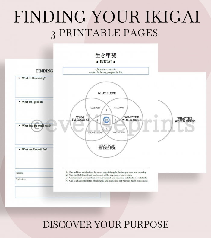 Ikigai Chart   Worksheets Find Your Reason For Being