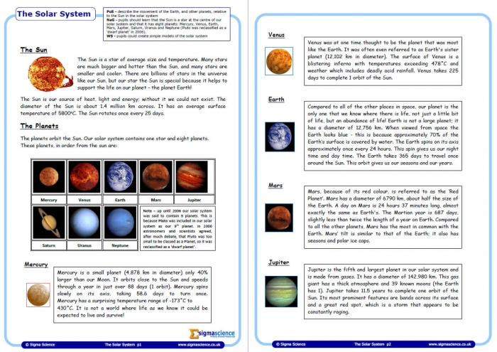 Introduction To Our Solar System  Physics Worksheet For Year