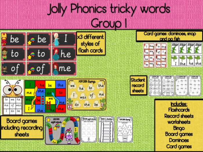Jolly Phonics Tricky Words Group  I  The  He  She  Me  We  Be