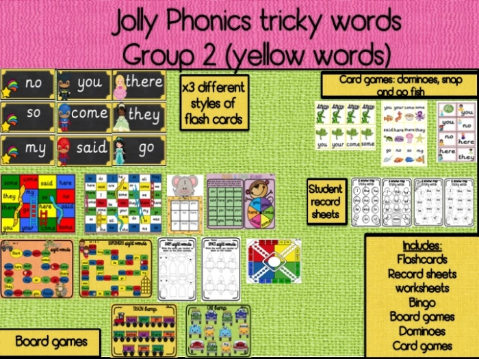 Jolly Phonics Tricky Words Group  You  Your  Come  Some  Said