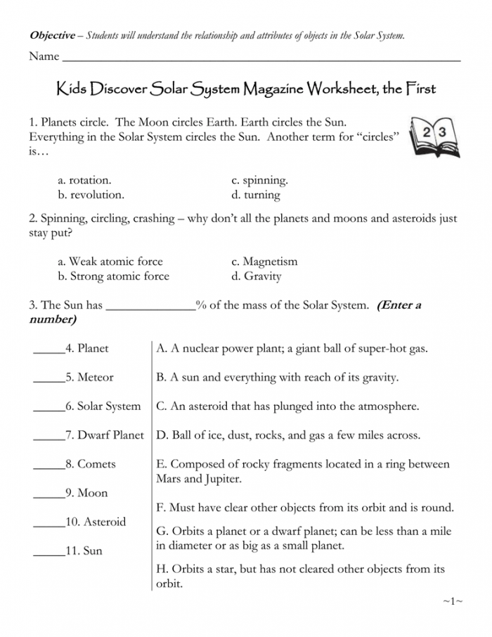 Kids Discover Solar System Magazine Worksheet  The First