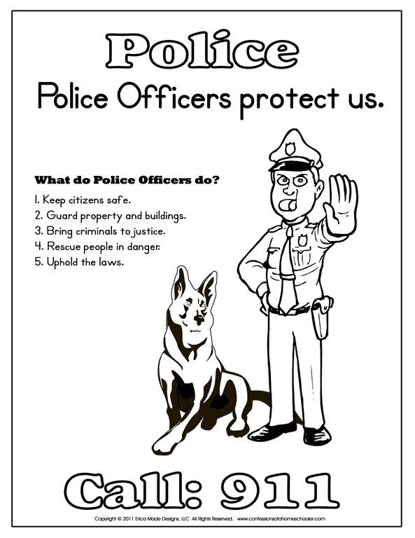 Kindergarten Police Officer Printables