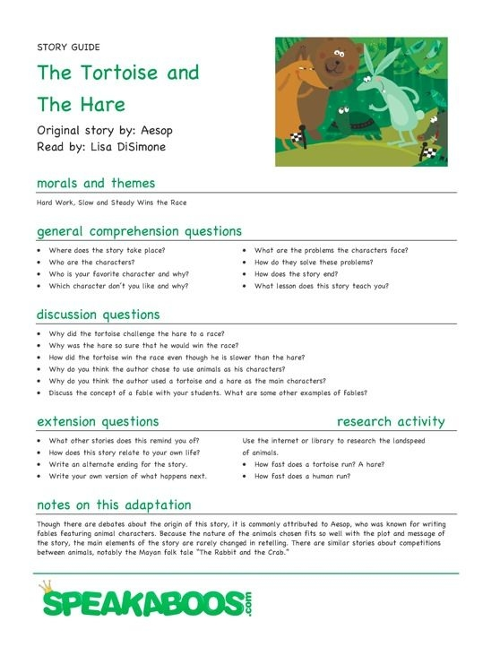 Lesson Plans The Tortoise And The Hare