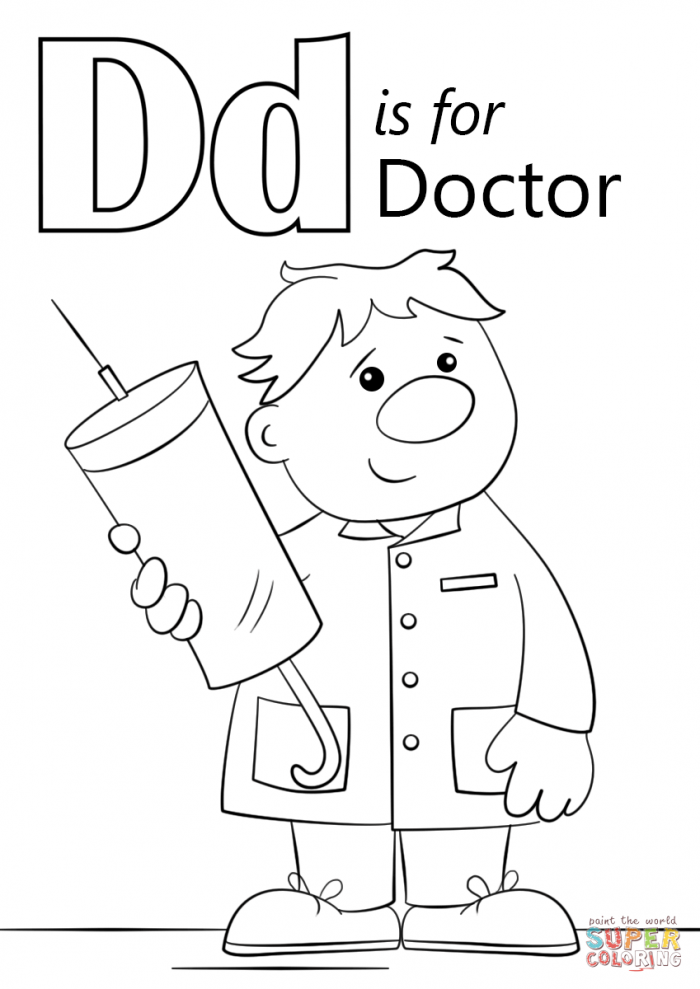 Letter D Is For Doctor Coloring Page