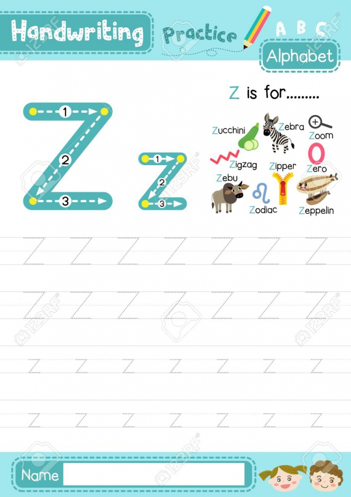 Letter Z Uppercase And Lowercase Cute Children Colorful Abc