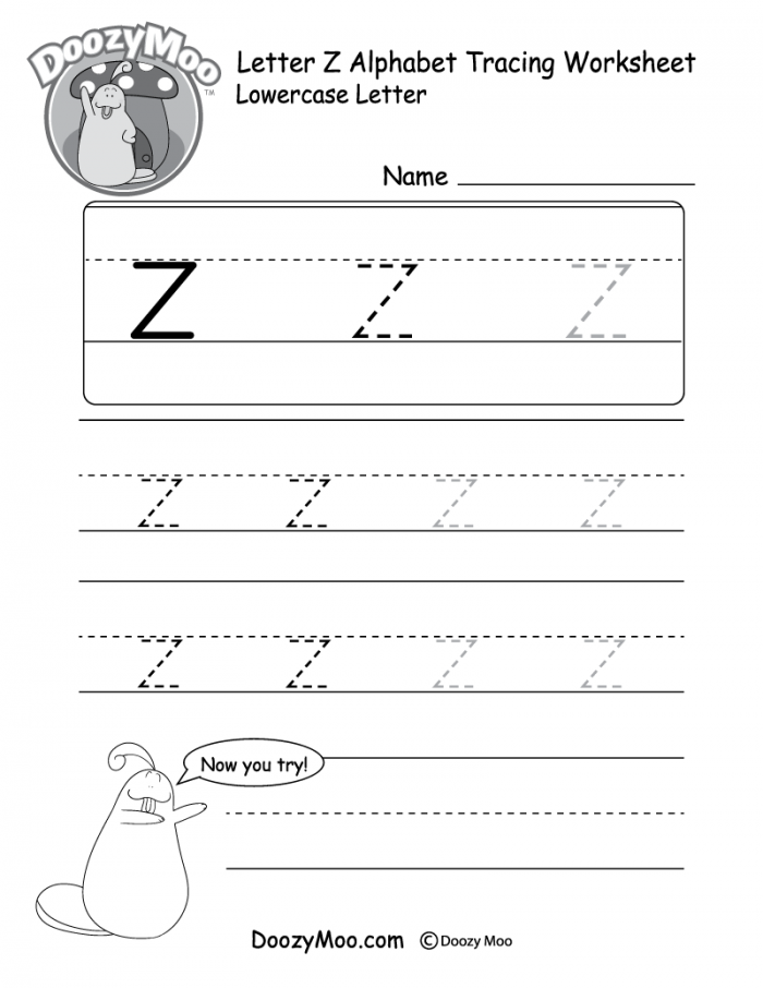 Lowercase Letter Z Tracing Worksheet