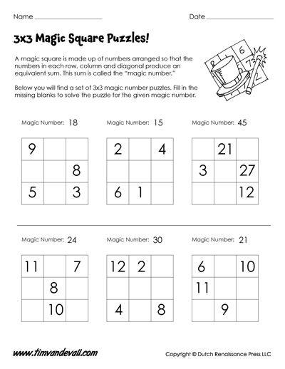 Magic Squares Worksheets