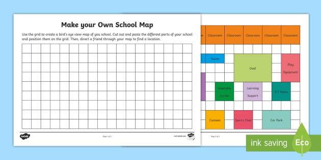 Make Your Own School Map Worksheet  Worksheet