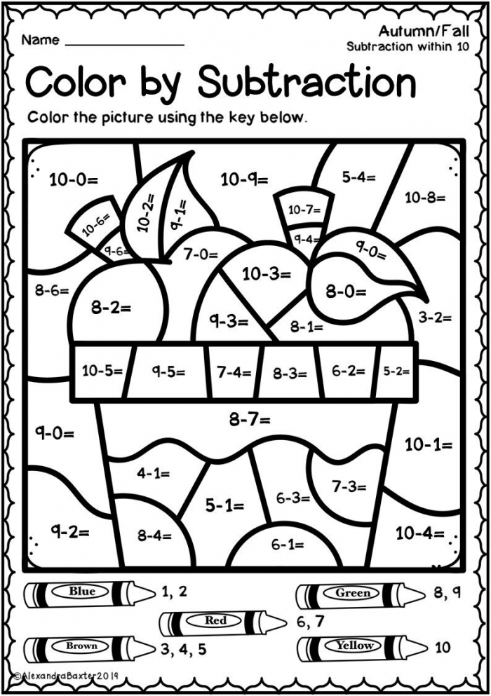 Math Worksheet  Free Subtraction Color Worksheets Coloring For