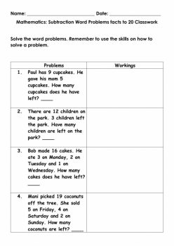 Subtraction Facts: Cupcake Subtraction