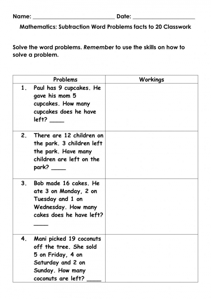 Mathematics Word Problems Subtraction Facts To  Classwork Worksheet