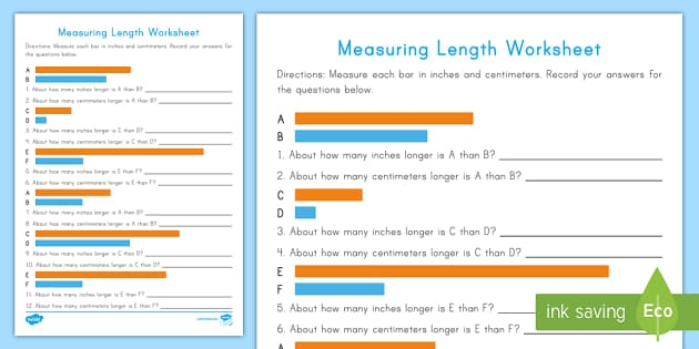 Measuring Length Worksheets Inches And Centimeters