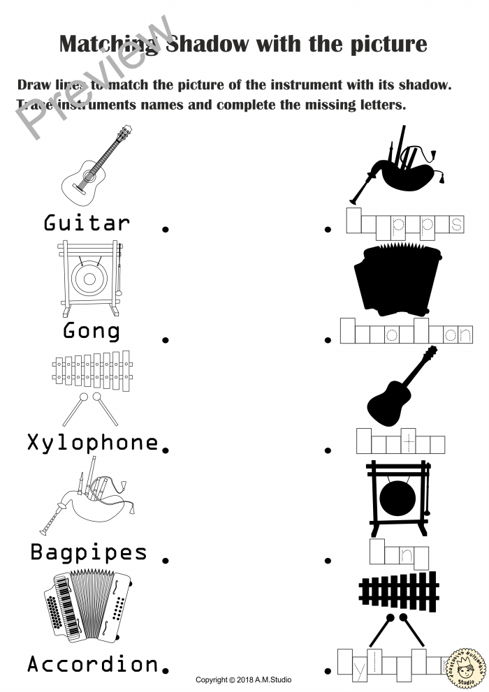 Music Instruments Shadow Matching Activities
