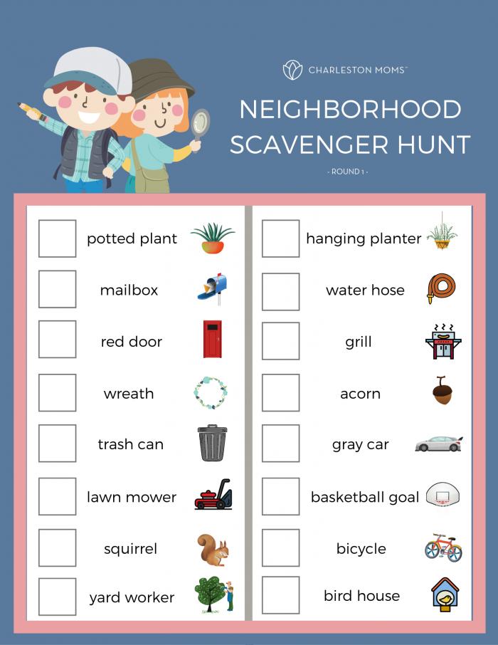 Neighborhood Scavenger Hunt Free Printables