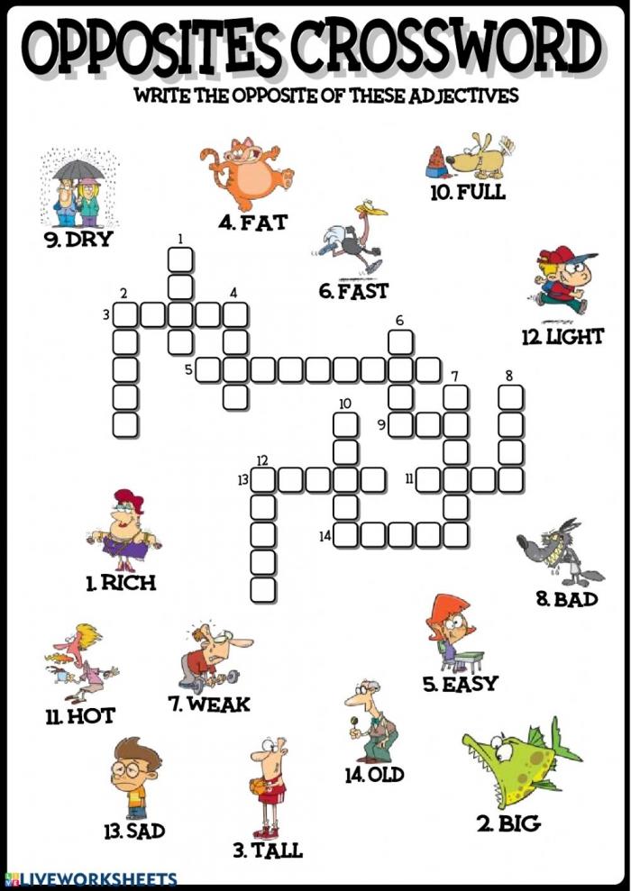Opposites Crossword Worksheet
