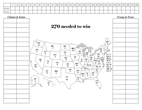 Printable Electoral College Map Fill