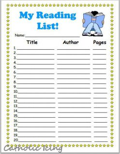 My Reading Checklist Bookmark