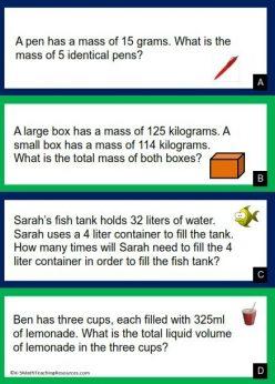 Measurement Word Problems: Grams And Kilograms