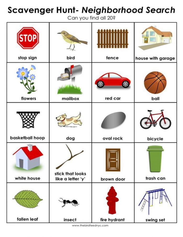Scavenger Hunt For Kids Print Out And Use In Your Neighborhood