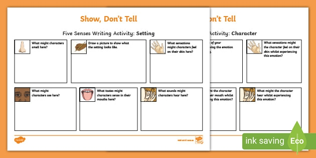Show  Dont Tell Five Senses Writing Activity