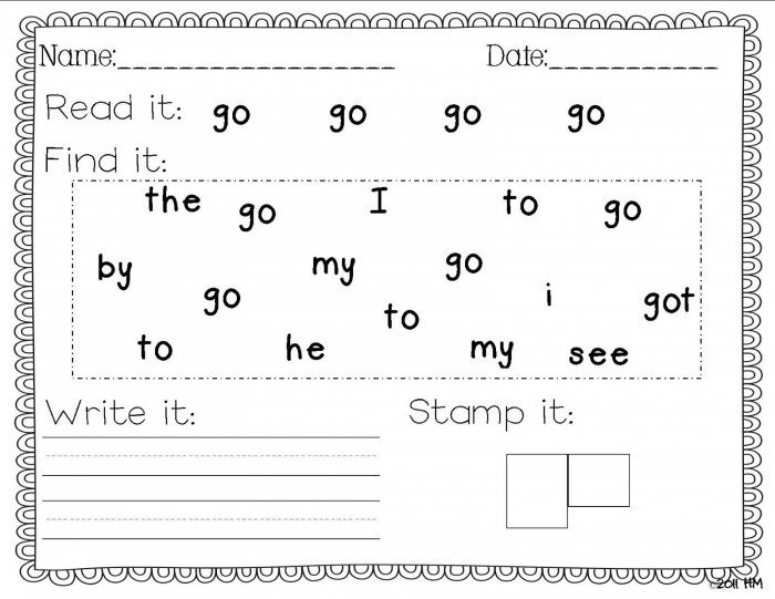Sight Word Writing Practice