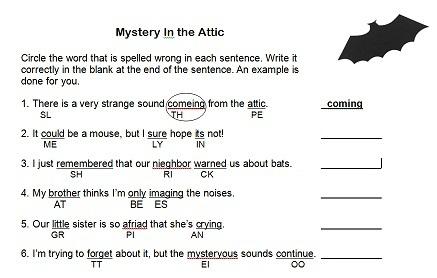 Spelling Worksheet  Mystery In The Attic