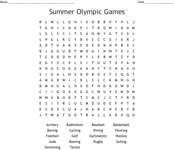 Summer Olympic Games Word Search