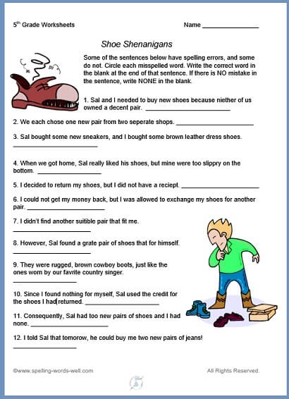 Th Grade Worksheets For Fun Spelling Practice