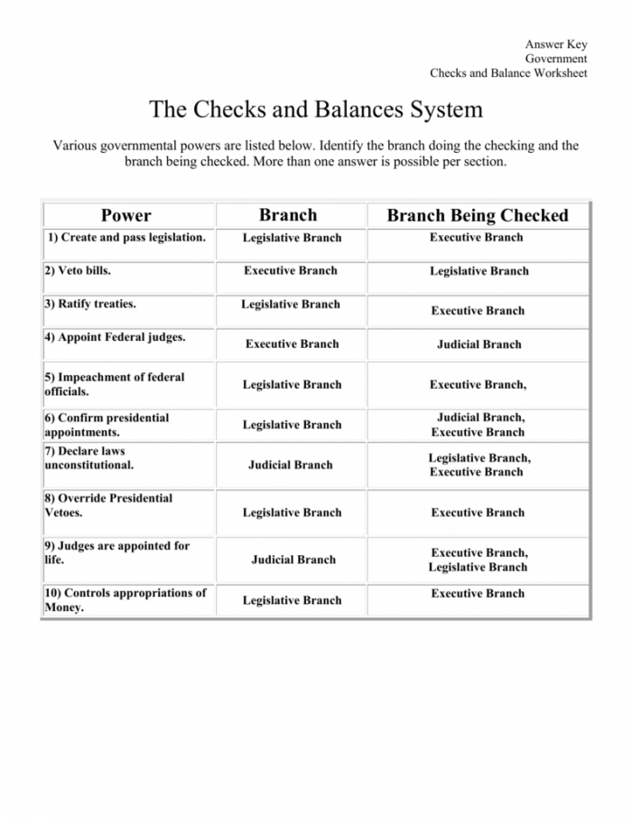 The Checks And Balances System A Worksheet