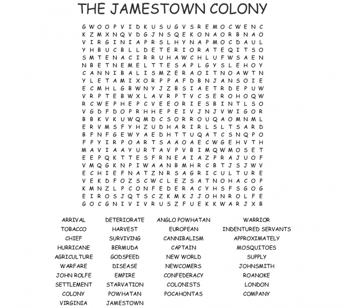 The Jamestown Colony Word Search