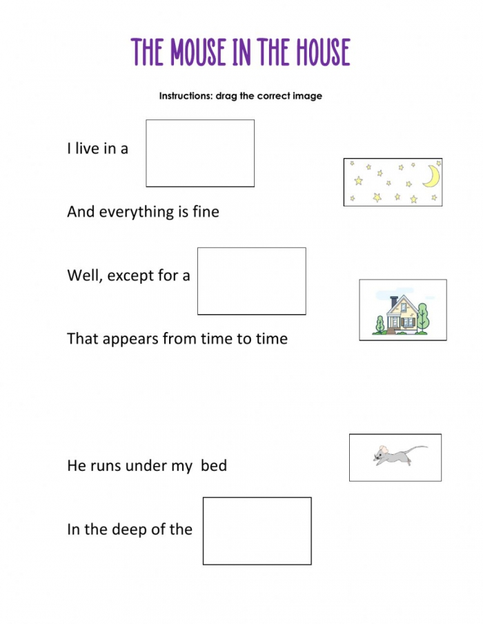 The Mouse In The House Worksheet
