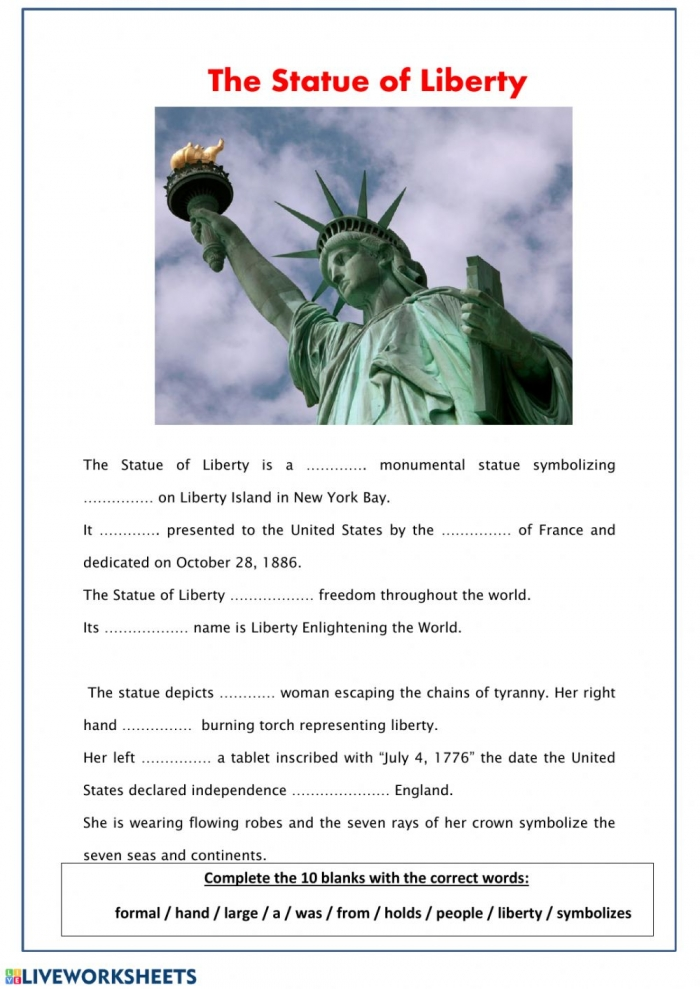 The Statue For Liberty Worksheet