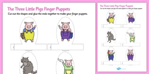 The Three Little Pigs Finger Puppets Teacher Made