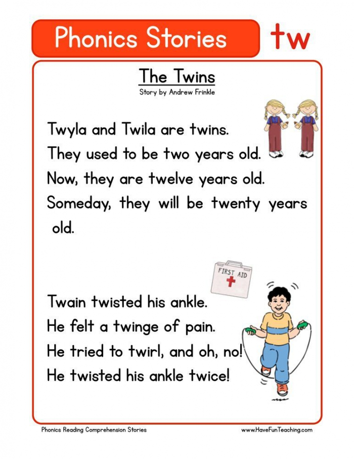 The Twins Tw Phonics Stories Reading Comprehension Worksheet