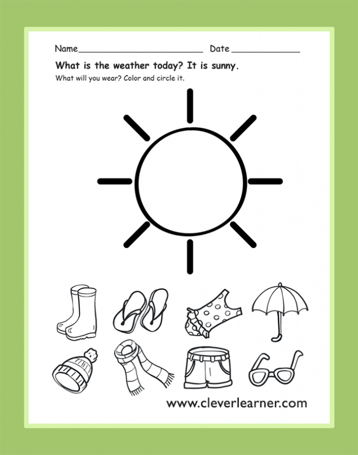 The Weather Today Is Sunny Preschool