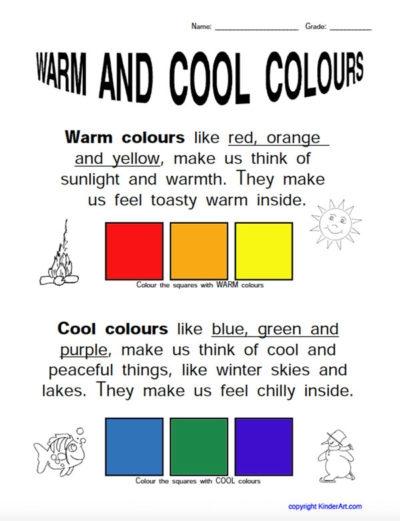 Warmcool Colours Worksheet  Kinderart