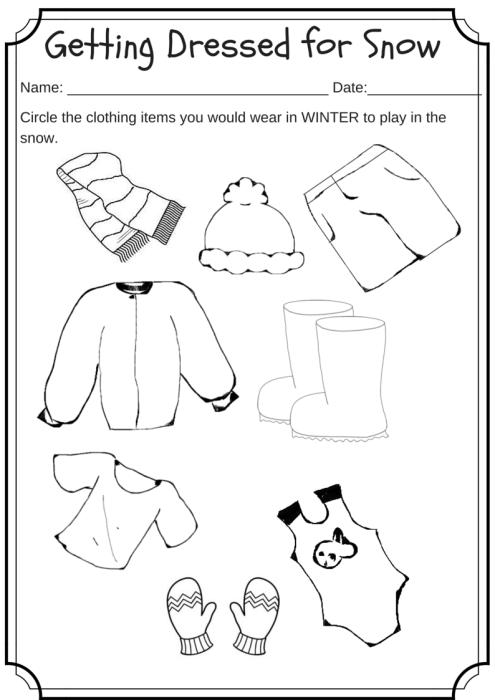 Winter Weather Wear Preschool Worksheet  What Would You Wear On A