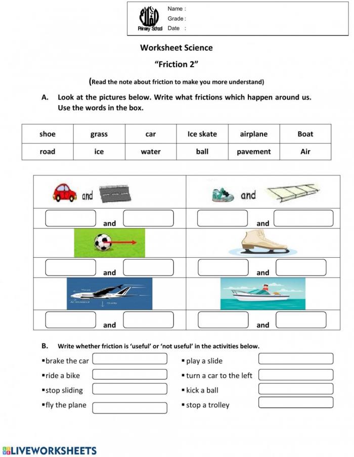 Worksheet Friction Worksheet