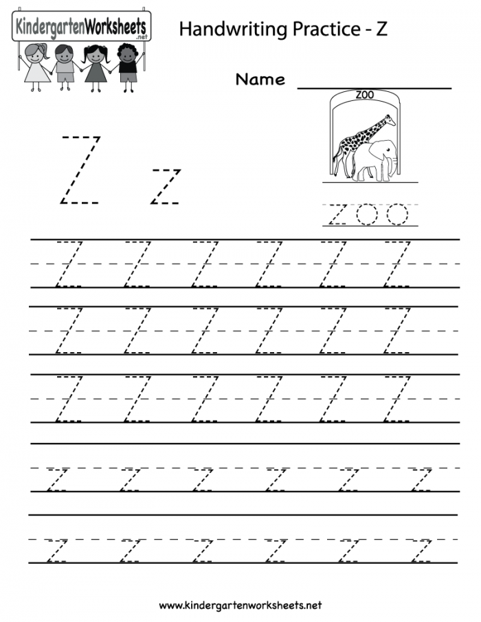Worksheet Kindergarten Letter Z Writing Practice Printable