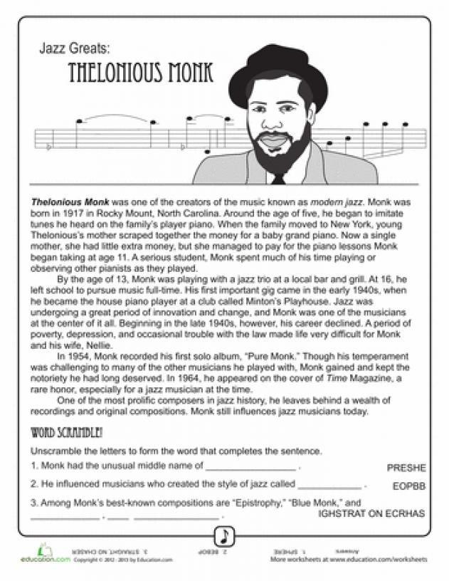 Worksheets Jazz Greats