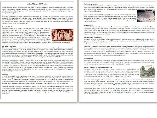 A Brief History Of Theatre