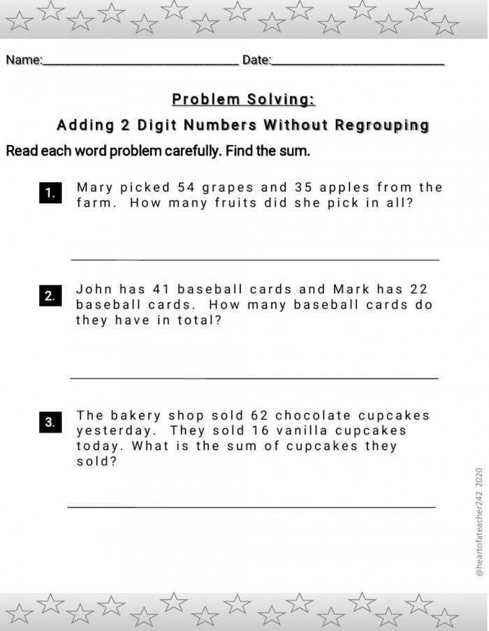 Adding Two Digit Numbers Without Regrouping Word Problems Worksheet
