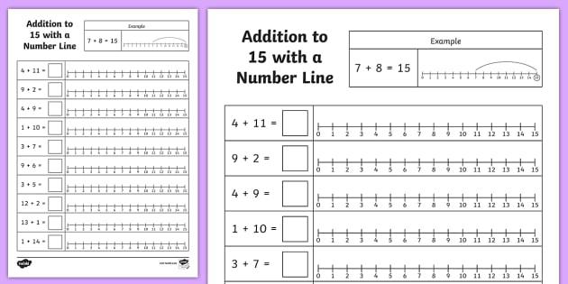 Addition To  Number Line Worksheet