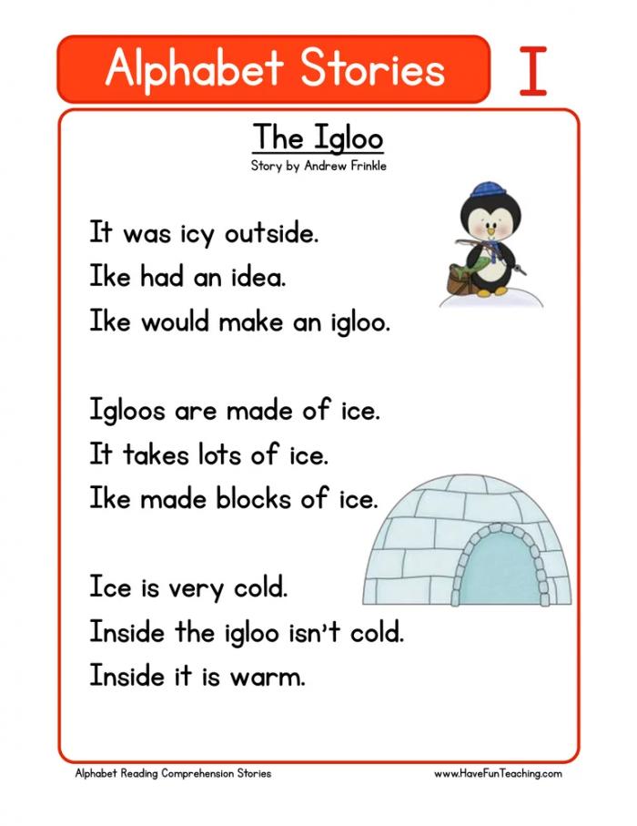 Alphabet Stories Letter I Reading Comprehension Worksheet